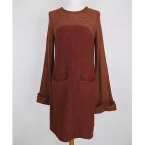 FREE PEOPLE brown rabbit long sleeve sweater dress